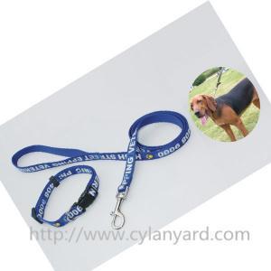 China Imprinted polyester lanyard dog collar and dog leash gift set, screen printed logo,cheap, on sale