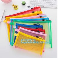 Buy cheap Office Stationery Mesh Bags With Slider Zipper, expanding file/folder/File cover/documents pouch carry bag product