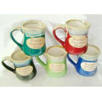 Buy cheap Stoneware Reactive Glaze Mug / Porcelain Coffee Mugs With Embossed Wordings product