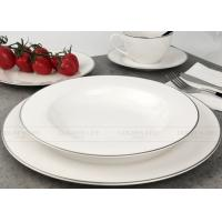 Buy cheap White Gold Line Ceramic Dinnerware Sets Gift Box Packing BSCI Certification product