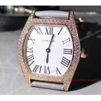 Buy cheap Cartier Tortue White Face Diamond Bezel Grey Leather Band 24mm Watch product