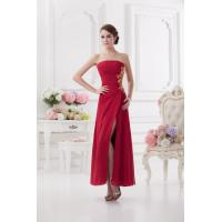 China Chiffon A Line Womens Party Dresses with Strapless Neckline / Floor Length on sale