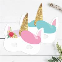 Buy cheap Birthday Unicorn Recycled Paper Mask For Kids 7.5 X 7.5 Inch Customized Design product
