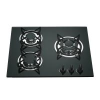 Buy cheap Tempered Galss Top 3 Ring Gas Hob , Safety Kitchen Three Burner Gas Cooktop product