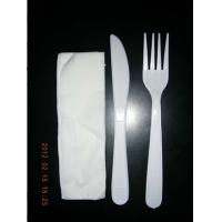 Eco Friendly Disposable Plastic Cutlery , Knife Fork And Napkin Kit