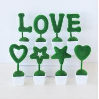 China Love decoration Green artificial plant letter decor love/heart/star design table decor on sale