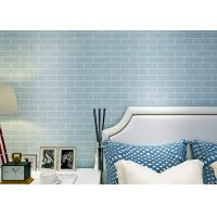 Buy cheap Blue Pre - Pasted Self Adhesive Wall Covering Non Woven / 3D Brick Wallpaper , CE Standard product