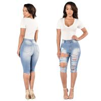Five Point Ripped Womens Knee Length Denim Shorts Skinny Fit Type