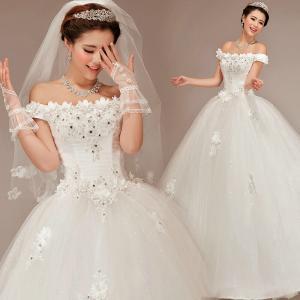 Buy cheap Белые платья венчания дам шнурка lhbim/мантии Princess венчания женщин product