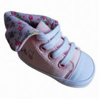 China Casual Baby Girl Shoe, High-cut Style, Canvas Upper, Soft Sole, Good for Wear on sale