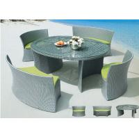 China Round Rattan Dining Set / 4 Seater Patio Furniture Set with Light Green Chair on sale