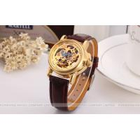 Buy cheap Winner Fashion ladies Automatic Watch Gold Dial And Brown Band product