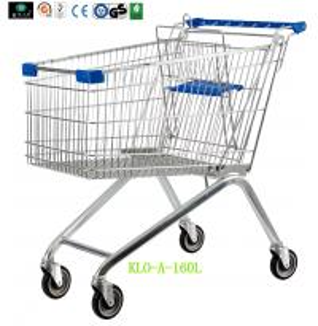 Grandes 4 rodaram carrinhos de compras do supermercado com logotipo personalizado no punho 160L
