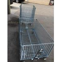 Buy cheap Customized Galvanized Collapsible Wire Cage Conveyable With Casters 6mm Thickness from wholesalers
