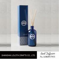 Buy cheap transparent blue color reed diffuser with natural stick and pattern folding box product