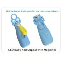 China Ergonomic Design LED night light baby nail scissors with magnifying glass on sale