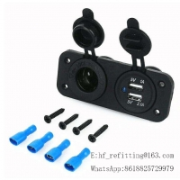 Buy cheap 12-24V 3.1A Dual USB Port Socket Charger with Two Hole Panel Power Socket product