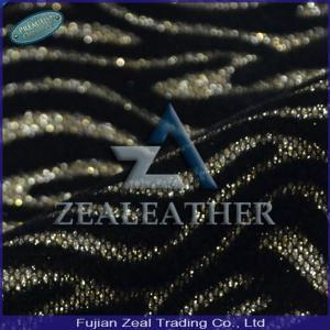 China 2014 Newest Zebra Flocked PU Artificial Glitter Fabric on sale