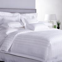 Quality ISO9001 Luxury 5 Star Quality Stripe White 100 Cotton Linen Sheet Bedding Set Hotel Bed Sheets for sale
