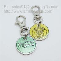China Supermarket shopping cart chip, enamel trolley token coin keychains China factory on sale