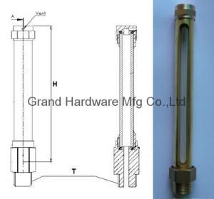 Buy cheap male thread NPT 1/4 Brass Tube Oil level gauge with quartz glass tube product
