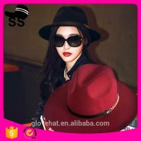 Buy cheap 2017 NEW style YIWU fedora boater 57cm 100% Wool felt cowboy cowgirl womens party summer straw hats product