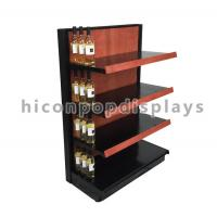 China Liquor Store Gondola Shelving Units 36 Inch Wide End Cap Wooden Shelving Display Stand wholesale