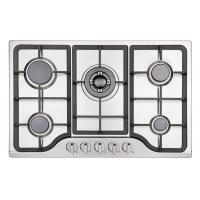 Buy cheap Stainless Steel LPG Gas Hob Auto Ignition , 5 Burner Gas Cooktop Cast Iron Pan from wholesalers
