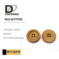 Buy cheap 4 Holes Nature Wooden Buttons With Personalized Logo Raised Edge Light Weight Overcoat product