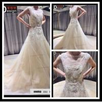 Buy cheap 2015 Surmount Real Sample New Arrival A-Line Boat Neck Court Lace Wedding Dress product