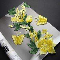 Buy cheap Yellow Flower Sew On Embroidered Patches Lace Appliques For Clothing 14 X 32 CM product