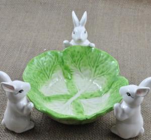 Buy cheap Vert et blanc créatifs de plat de plateau de fruit de lapin product