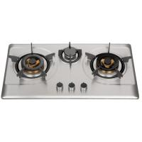 Quality Silver Stainless Steel 3 Burner Gas Hob , Built In 3 Burner Stainless Steel Gas Stove for sale