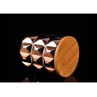 Buy cheap Diamond Pattern Ceramic Candle Holder Electroplating Surface with Wooden Lid product