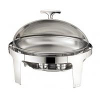 China Stainless Steel Oval Roll Top Chafing Dish W/ 6.8L Oval Food Pan W/ Fuel Holder Lid Fully Open at 180° on sale