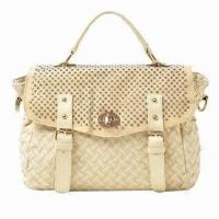 China Brown Crocheted Hand Bags Messenger Bag With Rivets & Diamonds on sale