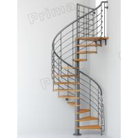Buy cheap Iron Railing Wood Staircase Treads Customized Internal Spiral Stairs product
