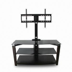 China Soporte de la TV, hecho del metal, del vidrio moderado y de la madera, con el soporte que gira sobre un eje wholesale