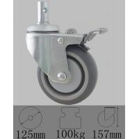 Quality ANK grey PU wheel caster with total lock brake swivel stem caster in home care bed for sale