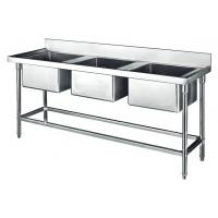 Buy cheap Commercial Stainless Steel Sink Three Bowl 1800*700*800+150mm Thick 1.2mm from wholesalers