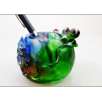 Buy cheap Colored Glaze Pen Pot / Pen Holder With Animal And Flower Pattern product