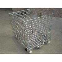 Buy cheap 50mm * 50mm Wire Mesh Containers 4 Wheels Folding Wire Containers With Pulls from wholesalers