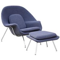 Modern Womb Accent Lounge Chairs , Wool / Leather Modern Style Chairs With Ottoman