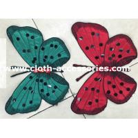 Satin Butterfly Clothing Appliques Embroidery With Rhinestone Stitched