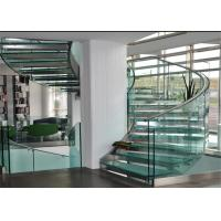 Buy cheap Customized Indoor Wooden  Curved Staircase with Stainless Steel Railing Design product