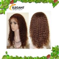 Fashionable 14 inch Kinky Curl Light Brown Color Indian Human Hair Full Lace Wig