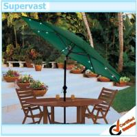 China Tilted Green Garden Gleam Commercial Patio Umbrella With Solar Lights on sale