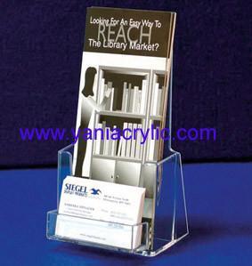 China Promotional Elegant Plexiglass Cutting Acrylic pamphlet Holder With Name Card Pocket on sale