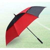Buy cheap Auto Open Fiberglass Windproof Advertising Solid Red and Black Straight Golf Umbrella product