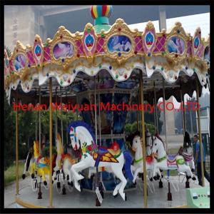 Buy cheap RGB lights Fiberglass Carousel For Sale 16seats With Animals Amusement Park Carousel product